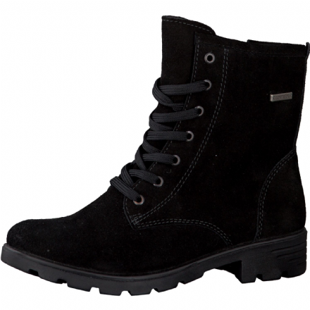 Ricosta DISERA Waterproof Leather Zip/Lace-Up Heeled Boot (Black)